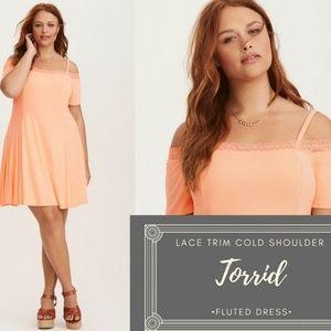 NWOT Torrid Lace Trim Cold Shoulder Fluted Dress